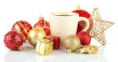 Cup of hot cacao with Christmas decorations isolated on white — Foto Stock