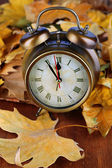 Vieille horloge sur feuilles d'automne sur le close-up de table en bois — Photo