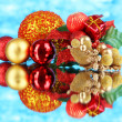 Composition of Christmas balls on blue background — Stock Photo