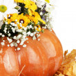 Beautiful autumn composition in pumpkin with yellow leaves close up — Stock Photo