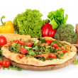 Tasty vegetarian pizza and vegetables, isolated on white — Foto de Stock