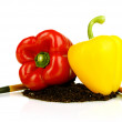 Red and yellow pepper with ground isolated on white — Foto de Stock