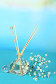 Aromatic sticks for home with floral odor on blue background — Foto de Stock