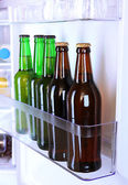 Bottles with drinks in refrigerator — Stock Photo