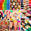 Color pencils collage — Foto Stock