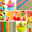 Collage of different colorful candy and sweets — Foto de Stock
