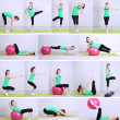 Collage of different fitness exercises — 图库照片