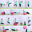 Collage of different fitness exercises — Stockfoto