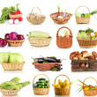 Collage of vegetables in wicker basket — Stock Photo