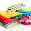 Heap of cloth fabrics isolated on white — Stock Photo
