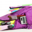 Purple backpack with school supplies isolated on white — Stock Photo #35575027