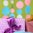 Beautiful presents on bright background — Stock Photo