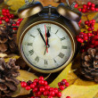 图库照片: Old clock on autumn leaves on wooden table close-up