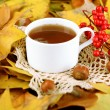 Cup of hot beverage, on yellow leaves background — Stock Photo #35576317