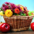 Composition with beautiful flowers in wicker basket and fruits, on bright background — Stock Photo