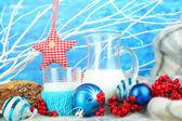 Beautiful Christmas composition with milk close-up — Zdjęcie stockowe