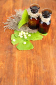 Ginkgo biloba leaves and medicine bottles on wooden background — Stock Photo