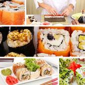 Tasty sushi collage — Photo