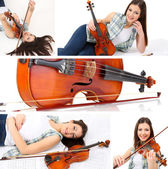 Collage of beautiful young girl with violin — Stock Photo