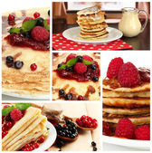 Homemade crepes collage — Stock Photo