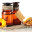 Medicine bottles and calendula, isolated on white — Stock Photo #35693427