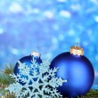 Stock Photo: Christmas decoration on blue background