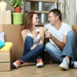 Stock Photo: Young couple celebrating moving to new home sitting among boxes