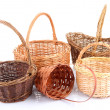 Empty wicker baskets, isolated on white — Stock Photo #35698981