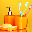 Bathroom set on yellow background — Stock Photo