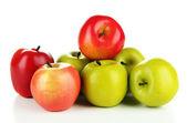 Tasty ripe apples isolated on white — Stockfoto