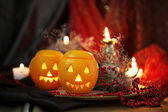 Festive composition with lanterns and candles on dark background — Stock Photo