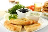 Traditional Turkish breakfast close up — Stock Photo