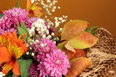 Flowers composition on brown background — Stock Photo