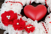 Decorative wreath with heart close up — Stock Photo