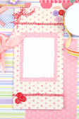Beautiful hand made post card and scrapbooking elements — Stock Photo