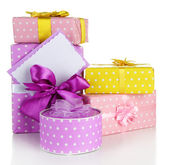 Gift boxes with blank label isolated on white — Стоковое фото