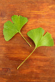 Ginkgo biloba leaves on wooden background — Stock Photo