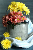 Composition with beautiful flowers in watering can and fabric, on color background — Stock Photo