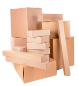 Different cardboard boxes isolated on white — Stock Photo