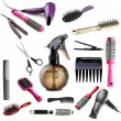 Collage of hairdressing tools isolated on white — Stock Photo