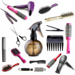Stock Photo: Collage of hairdressing tools isolated on white