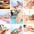 Collage of beautiful woman manicure — Stock Photo