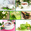 Collage of healthy green tea — Stock Photo