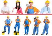 Industrial workers with yellow helmet — Stock Photo