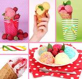 おいしいアイスクリームのコラージュ — ストック写真