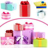 多彩礼品盒白底隔离 — 图库照片