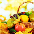 Different fruits and vegetables with yellow leaves in basket on table on bright background — Stock Photo #35821343