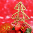 Composition of Christmas balls on red background — Stock Photo #35822331