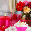 Stock Photo: Delicious creamy dessert on celebratory table of Valentine's Day on room background