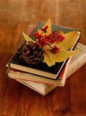 Books and autumn leaves on wooden table close-up — Stock fotografie